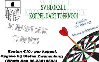 Koppel darttoernooi SV Blokzijl 31 maart 2018